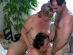Threesome with granny and babe
