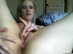 Sexy porcelain doll Lexxi on touching blond hair and small bowels