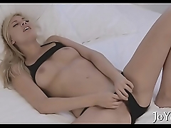 Solo playgirl stretches pink pussy