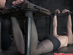 Submissive slave foot punished before toyed