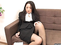 Asian meeting worker rubs her wet pussy up