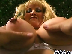 Naughty filly pleasures two stiff tools