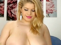 Gorgeous Blonde Plays with Big Tits   - combocams.com