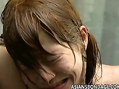 Doomed up Asian babe soaked with a water hose