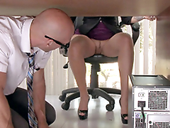 Bald computer technician watches excited Lela Star playing with pussy