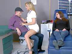 Hot nurse Julia Ann seduces radiate right near his sleeping girlfriend