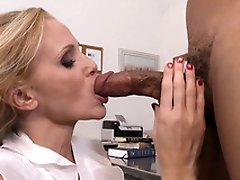 Teacher with big tits Julia Ann gags on student's black cock in class