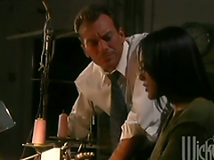 Slender Kaylani Lei gets fucked prettily on an office table