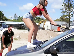 Hot Latina smashes her boyfriend's car and fucks a stranger as a revenge