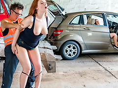 LETSDOEIT - Nympho Redhead Trades Sex For A Ride