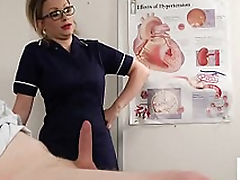 Bossy voyeur nurse instructs patient to wank
