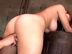 Busty Nene Azami blows it before having rough sex
