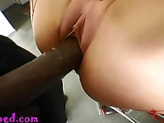 19 year old fake titty stripper regrets taking this monster negro cock up the shitter