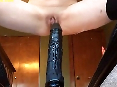 MYKINKYFLIX.COM - My Girlfriend Sits Mainly Monster Black Dildo