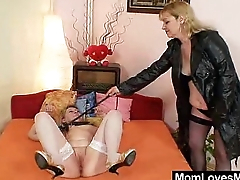 Amateur ladies banging each other with a latex cock