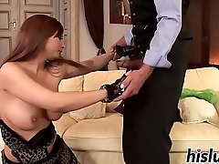 Hot redhead with big naturals gets slammed